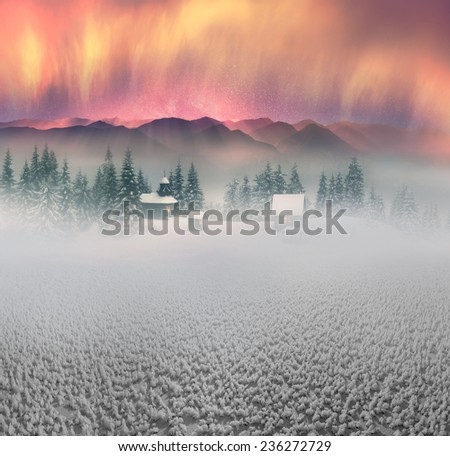 High in the wild mountains located monastyr- church shepherds of sheep in the Carpathian Mountains.  reserves is very beautiful, but accessible only to experienced hikers  climbers during cold weather - stock photo