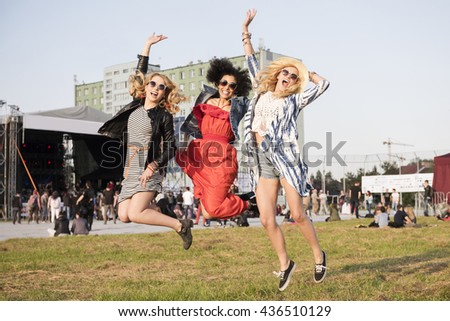 High jump at the festival - stock photo