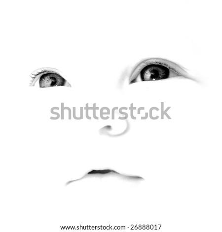 high-key baby face - stock photo