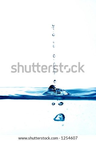 high key blue water drops - stock photo