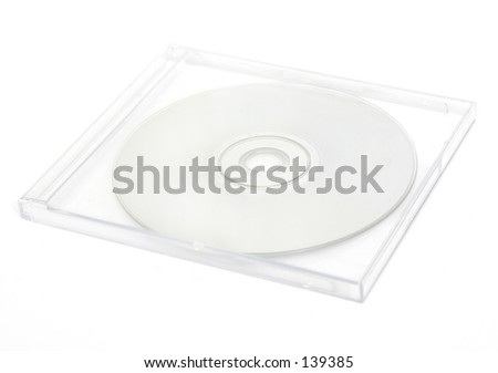 High key CD case. Shallow depth of field intentional. - stock photo