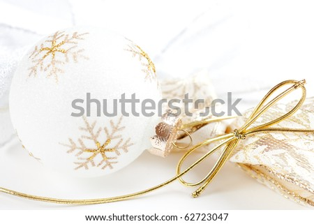High Key Christmas Bulbs on White Background. - stock photo