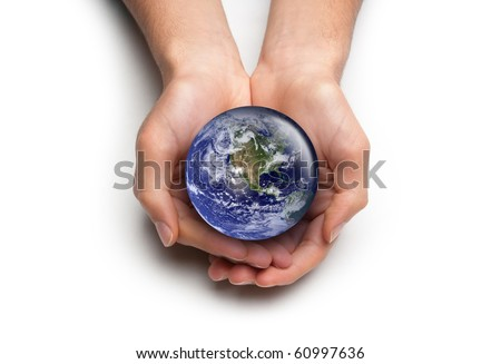 High key concept for global environmental care. Isolated on white. Image public domain http://visibleearth.nasa.gov/ - stock photo