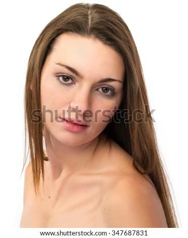 High key female portrait of healthy brunette girl - stock photo