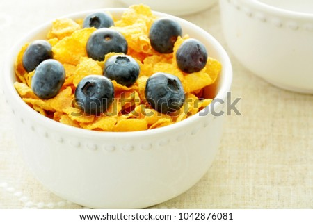 High key image of crunchy golden corn flakes with fresh juicy blueberries in horizontal format and shot in natural light