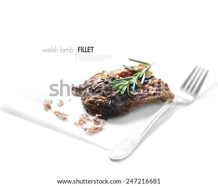 High key image of roasted welsh lamb fillet with fresh rosemary garnish against white. Copy space. - stock photo