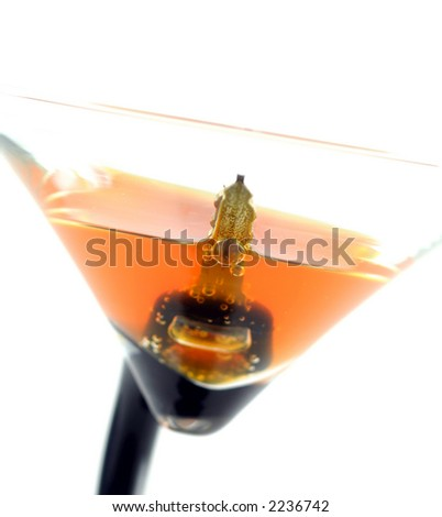 high key image on car key in the cocktail, don't drink and drive concept, isolated on white - stock photo