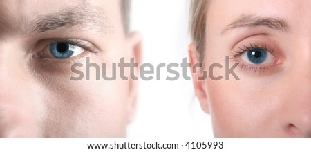 High key image showing sharp blue eye with softened skin to allow for copy space - stock photo
