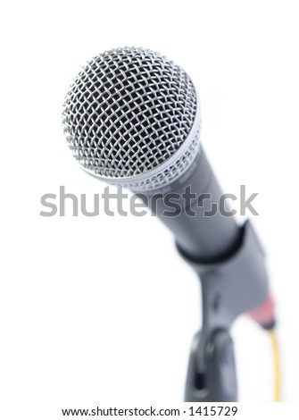 High Key Microphone Over White Background