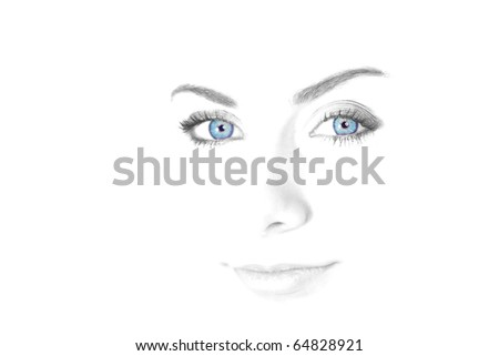 High key of a sexy woman eyes - stock photo