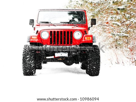 high key photo of a 4X4 in a snow storm