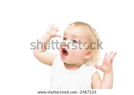 high key photo of baby shouting