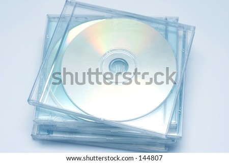 High key photo of CD stack. - stock photo