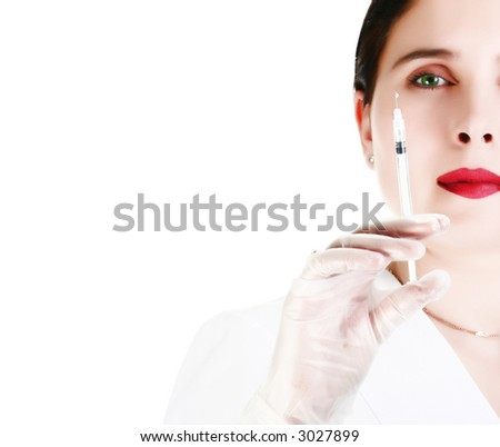 high key portrait of female with syringe