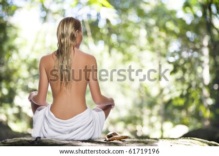 High key portrait of young beautiful woman  on color back - stock photo