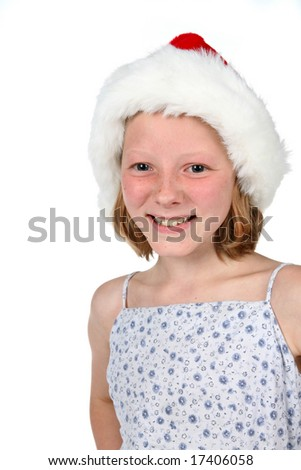high key young girl in santa hat