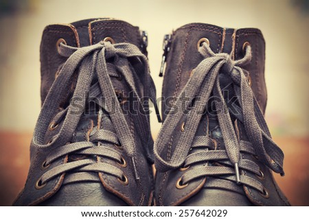 High leather shoes, laces close up - stock photo