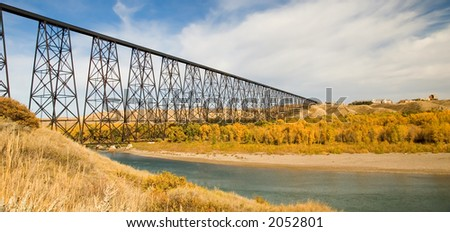 High level bridge at Lethbridge Alberta, Canada.  The longest of it's kind in the world.