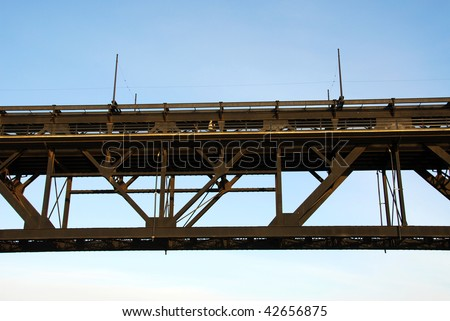 High level bridge in downtown of the city edmonton, alberta, canada - stock photo