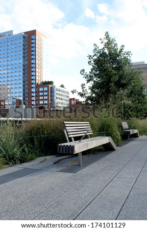 High Line. Elevated pedestrian Park and former Railroad spur called the West Side Line, which runs along the lower west side of Manhattan; it has been redesigned as an aerial greenway. New York City.  - stock photo