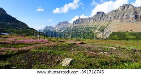 High line Trail and Garden Wall Logan Pass Glacier National Park - stock photo