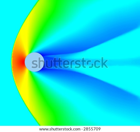 High mach number air flow over cylinder. Mach=2. CFD calculation. Density plot. - stock photo