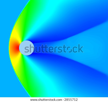 High mach number air flow over cylinder. Mach=2. CFD calculation. Pressure plot. - stock photo