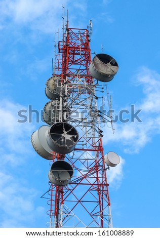 High microwave mobile pole station with blue sky, telecommunication industry