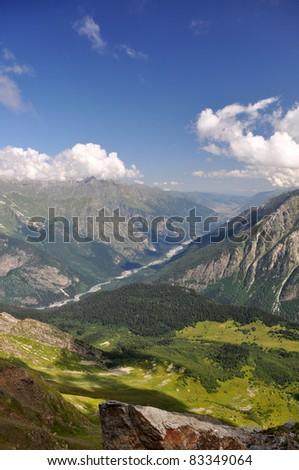 high mountain Dombaj. Russia - stock photo