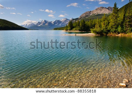 High mountain lake in the summertime, Kananaskis Alberta Canada