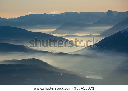 High mountain landscape in hazy weather - stock photo