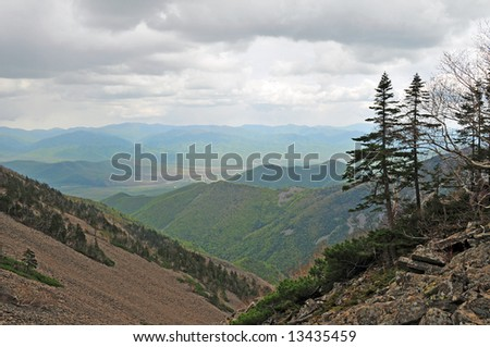 High mountain landscape in russian Lazovsky Reserve