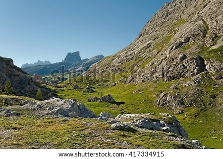 High mountain landscape in the Dolomites - stock photo