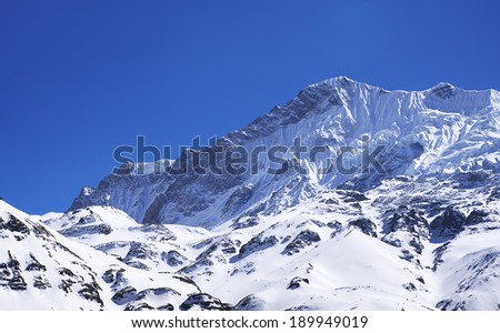 High mountain peak. Beautiful natural landscape - stock photo