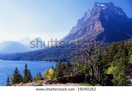 High mountain peak in the landscape - stock photo