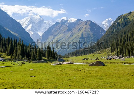 High mountain peak. Tien Shan mountains, Kyrgyzstan - stock photo
