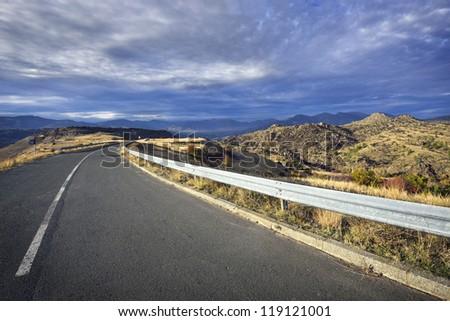 high mountain road - stock photo