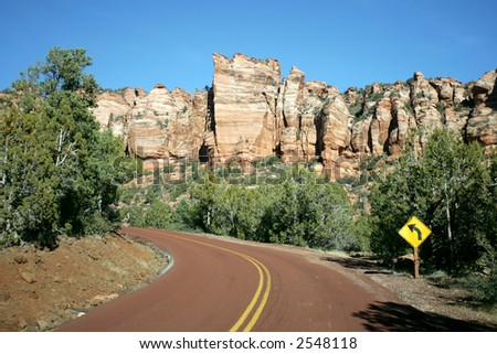 High Mountain Road in Colorado - stock photo