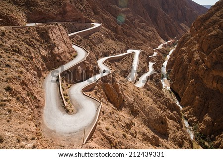 High mountain road in Morocco valley - stock photo
