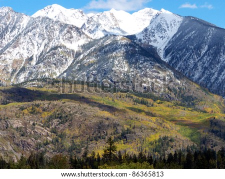High mountain snow and changing Aspens in the Colorado Rockies