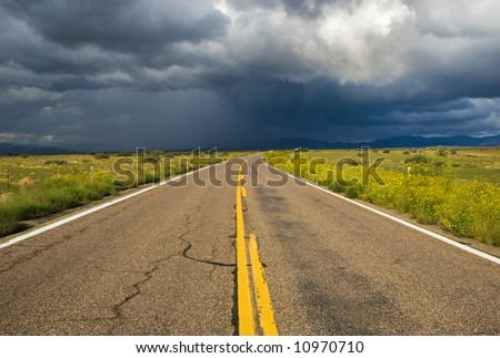 High mountain thunder storm. This view was captured along Highway 89 near Yarnell, Arizona. - stock photo
