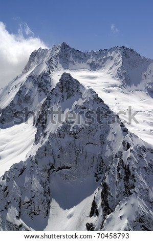 High mountains. Caucasus, Dombay, Peak Ine. - stock photo