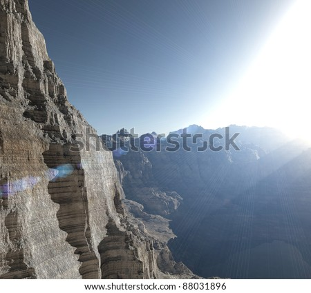 high mountains in a beautiful sunny day - stock photo