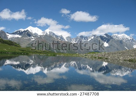High mountains in snow reflected  in a lake