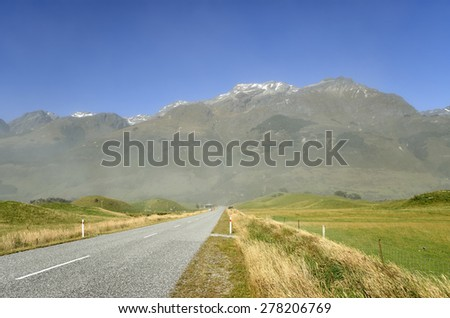 High mountains view in Southern Alps, New Zealand. - stock photo