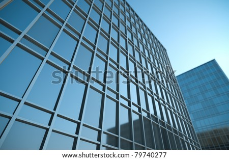 High office buildings, 3D render. - stock photo