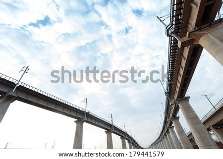 High overpass on the sky background - stock photo