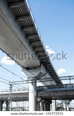 High overpasses on the sky background - stock photo