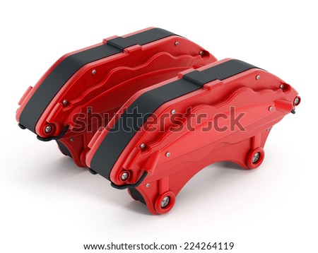 High performance brake calipers isolated on white.