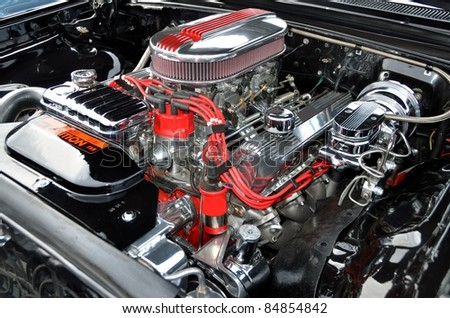 high performance car engine - stock photo